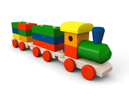 steam train: 3D illustration of colorful wooden toy train