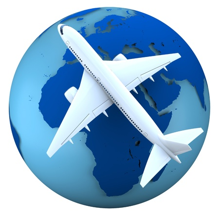 Concept of flying passenger aircraft over model of Earth isolated on white background. Map of Earth provided by visibleearth.nasa.gov photo