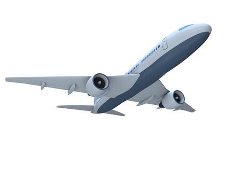 jetliner: 3D model of flying passenger aircraft isolated on white background