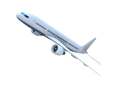 3D model of flying passenger aircraft isolated on white background Stock Photo - 13104807