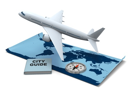 jetliner: Concept of air travel with world map, aircraft, compass and city guide book. World map provided by visibleearth.nasa.gov