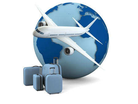 Concept of air travel with model of Earth, airplane and luggage isolated on white background. Map of Earth provided by visibleearth.nasa.gov