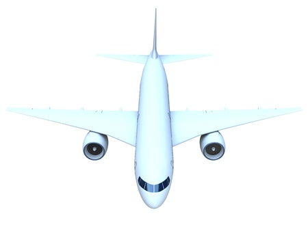 Front view of a flying passenger jet isolated on white background Stock Photo - 13170917