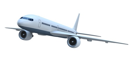 3D model of flying passenger aircraft isolated on white background Stock Photo - 13170916