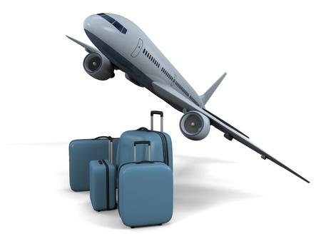 aviones pasajeros: Modelo 3D de aviones de pasajeros que vuelan con el equipaje aisladas sobre fondo blanco