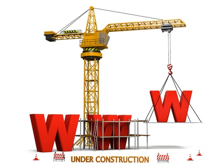 Concept of website under construction with orange tower crane, isolated on white background