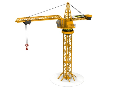 Model of orange tower crane isolated on white background