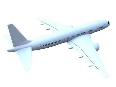3D model of flying passenger aircraft isolated on white background Stock Photo - 13441229