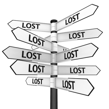 Signpost sending you to every direction, concept of feeling lost Stock Photo - 13441408