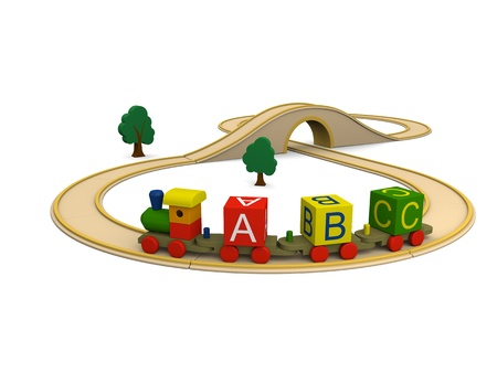 3D illustration of colorful wooden toy train carrying alphabet letters illustration