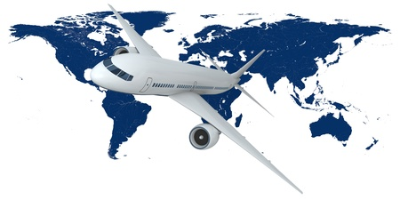 aviones pasajeros: Concepto de volar aviones de pasajeros con el mapa de la Tierra en el fondo aislado sobre fondo blanco. Los elementos de esta imagen proporcionada por la NASA Foto de archivo