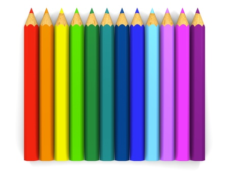 lined up: Color pencils lined up in a row.