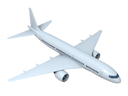3D model of flying passenger aircraft isolated on white background