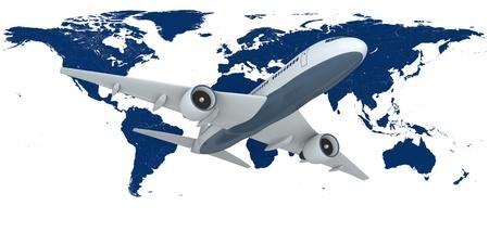 aviones pasajeros: Concepto de volar aviones de pasajeros con el mapa de la Tierra en el fondo aislado sobre fondo blanco Foto de archivo