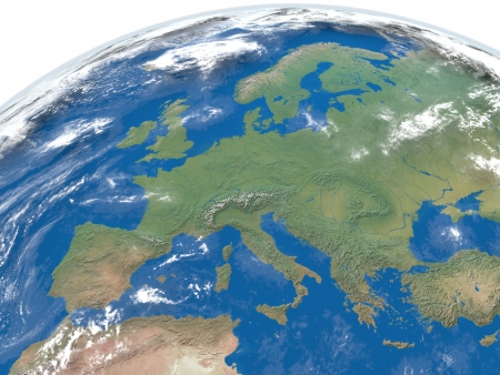 Detailed illustration of Europe from space with clouds and atmosphere