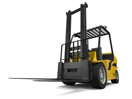 forklift truck: 3D illustration of modern yellow forklift truck isolated on white background Stock Photo