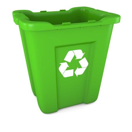 papelera de reciclaje: Modelo 3D de vac�o la papelera de reciclaje de pl�stico verde Foto de archivo
