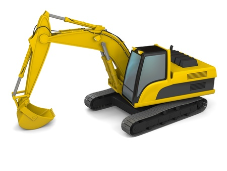 3D illustration of yellow modern excavator isolated on white background illustration
