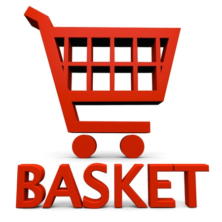 Basket sign with red shopping trolley symbol isolated on white background photo