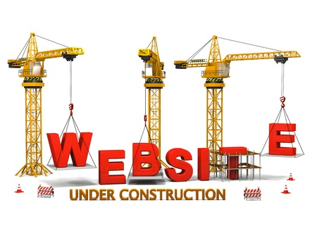 Concept of construction cranes building a website isolated on white background Archivio Fotografico