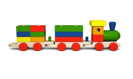 loco: 3D illustration of colorful wooden toy train