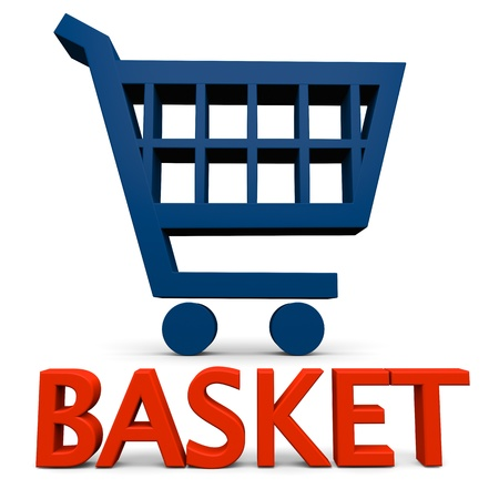 Basket sign with blue shopping trolley symbol isolated on white background photo