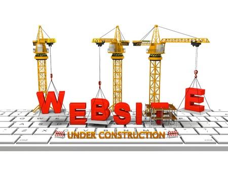 ウェブサイトを構築するコンピューターのキーボードは、建設中のウェブサイトの概念でクレーン