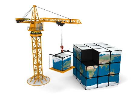 Concept of building world with crane lifting the last piece of cubic model of Earth, isolated on white background