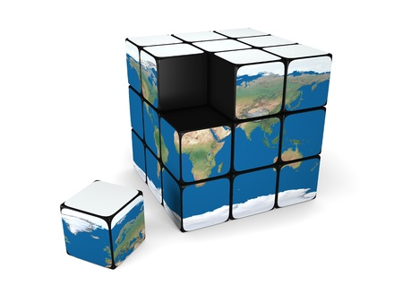 incomplete: Cube representing incomplete planet Earth with one building block fallen down, isolated on white background