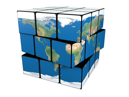 Cube representing planet Earth isolated on white background photo