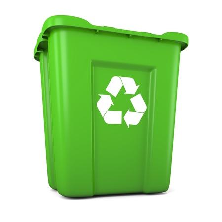 papelera de reciclaje: Modelo 3D de vac�o de pl�stico verde papelera de reciclaje