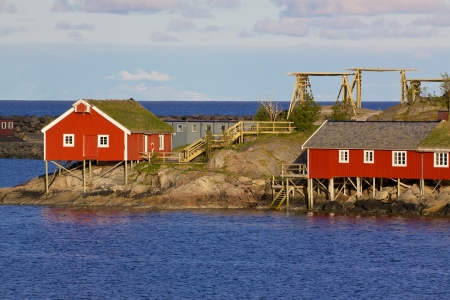 rorbu: Typical red rorbu huts with sod roof in town of Reine on Lofoten islands in Norway
