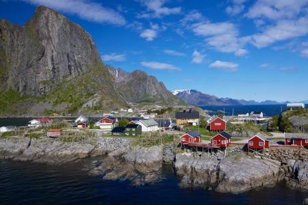 Picturesque fishing village of Hamnoy on Lofoten islands in Norway photo