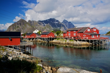 rorbu: Typical red fishing huts called Rorbu on Lofoten islands in Norway