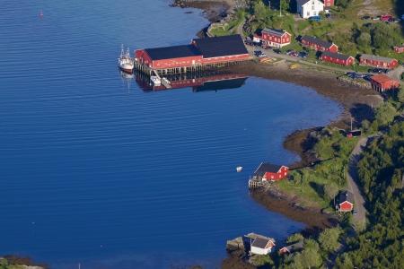 bird 's eye view: Tourist resort of Kalle on Lofoten islands in Norway