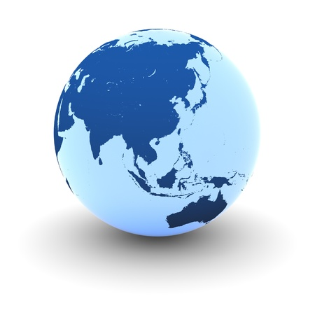 furnished: Southeast Asia on blue glowing model of Earth isolated on white background. Elements of this image furnished by NASA