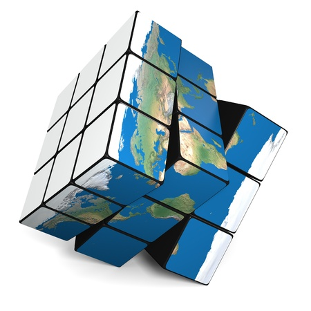 Cube representing planet Earth isolated on white background. Elements of this image furnished by NASA. photo