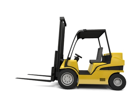 Side view illustration of modern yellow forklift truck isolated on white background