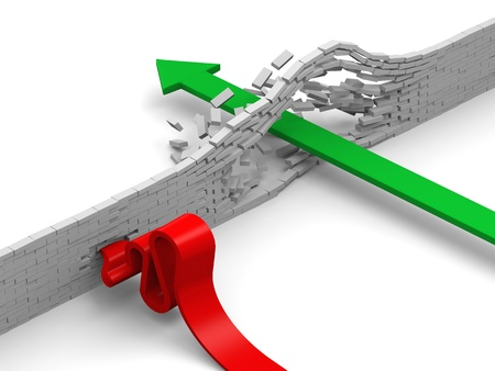 、障害物を介して破壊やレンガの壁を克服する緑と赤の矢印で示す失敗の概念