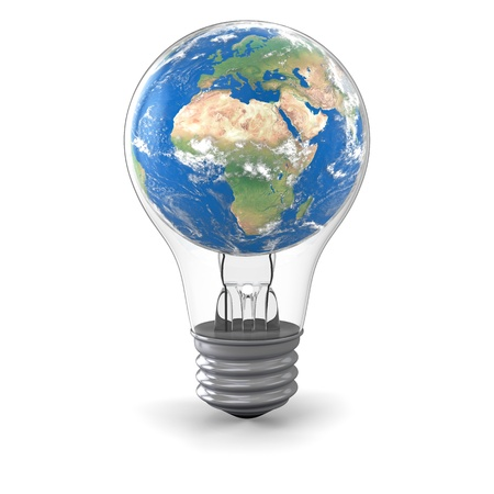 Realistic model of planet Earth inside lightbulb, concept of global energy solution photo