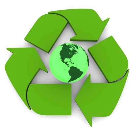 Glowing green planet Earth inside recycling symbol, concept of conservation, isolated on white background. Elements of this image furnished by NASA photo