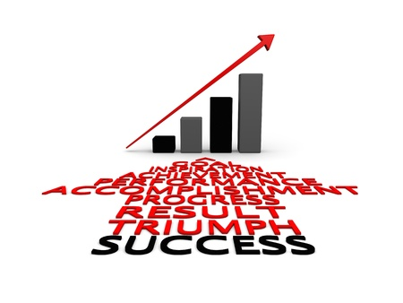 accomplishments: Concept of success and growth illustrated by success related words in shape of arrow and linear growth chart