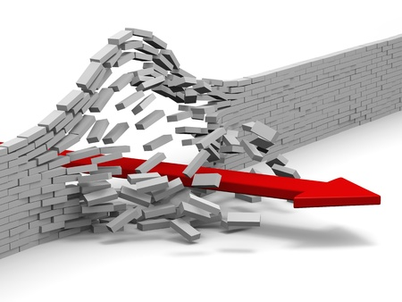 Illustration of arrow breaking through brick wall, concept of success, breakthrough, achievement Stock Photo