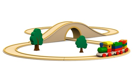 wooden toy: 3D illustration of colorful wooden toy train with track, isolated on white background