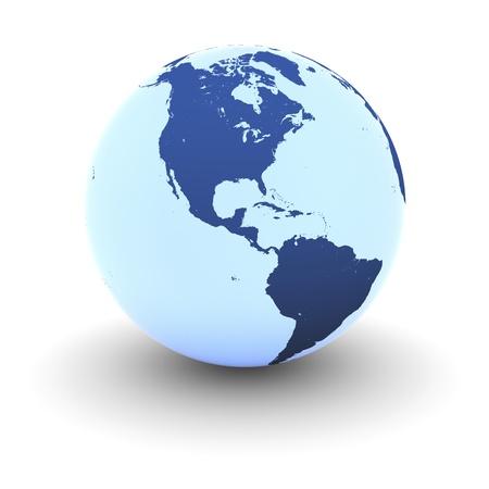 continente americano: Continente americano en el modelo azul brillante de la Tierra aislada en el fondo blanco. Los elementos de esta imagen proporcionada por la NASA