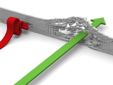 breaking through: El concepto de progreso versus fracaso ilustrado por la flecha se rompe a trav�s de la pared de ladrillo frente flecha chocar contra ella.