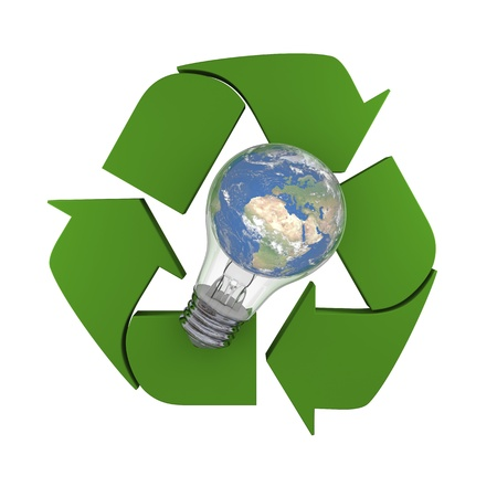 Lightbulb with planet Earth inside laying on recycling symbol, concept of new ideas in environmental protection and conservation. Elements of this image furnished by NASA Stock Photo - 15307353