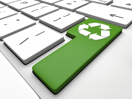 recycling symbol: Recycling symbol on computer keyboard, concept of role of technology in environmental protection