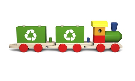 3D illustration of colorful wooden toy train with recycling symbols, concept of environmental protection as part of early children education, isolated on white background illustration