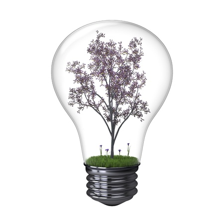 Illustration of blooming tree inside lightbulb isolated on white background, concept of energy saving and environmental protection illustration